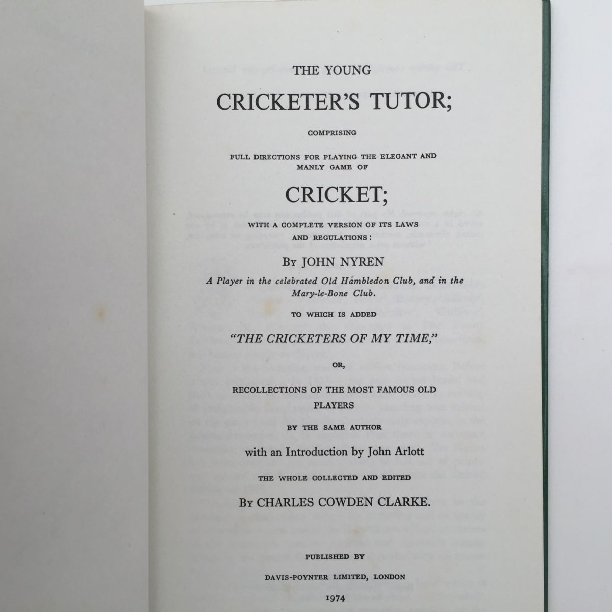 The Young Cricketer's Tutor