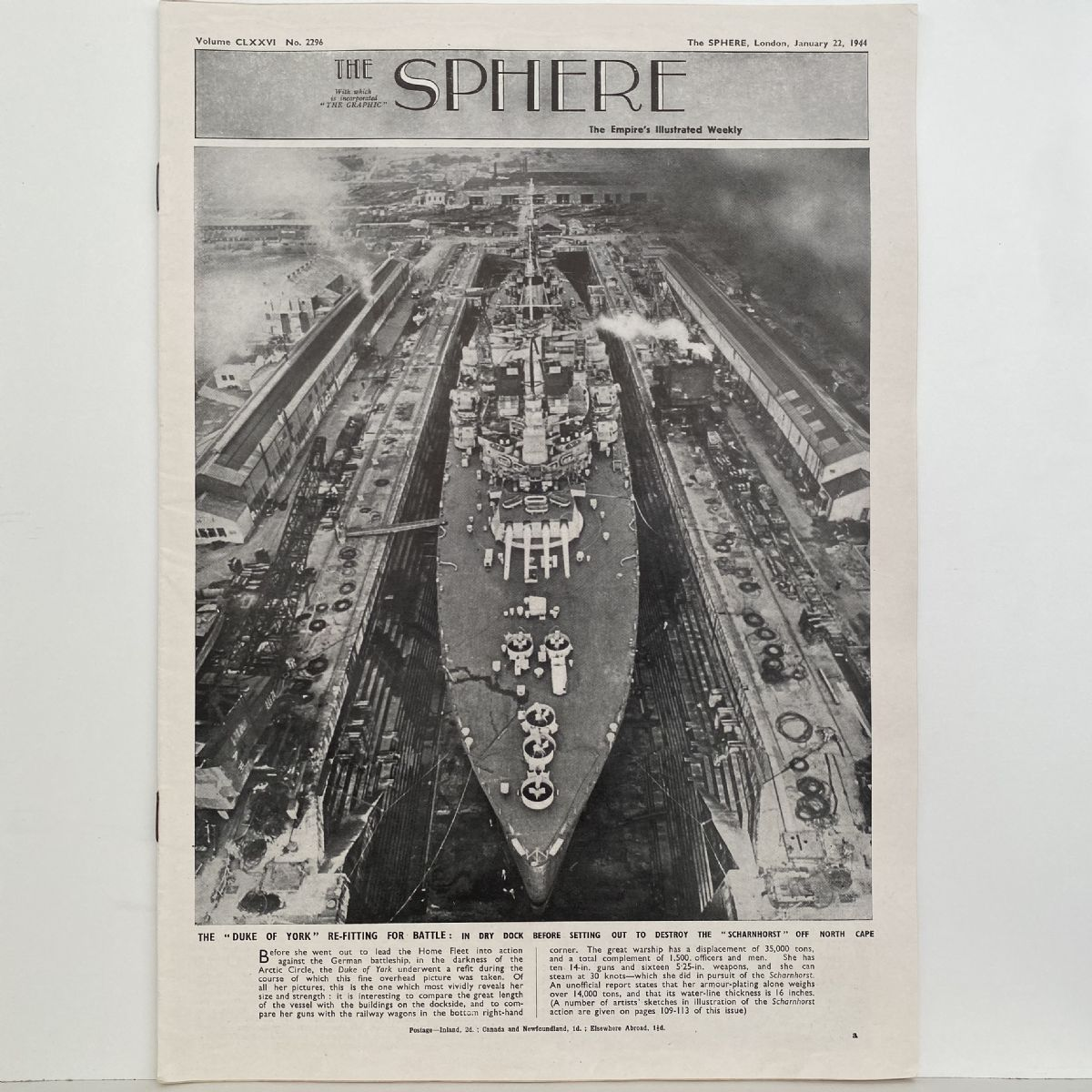 THE SPHERE The Empire's Illustrated Weekly. January 22,1944. No. 2296