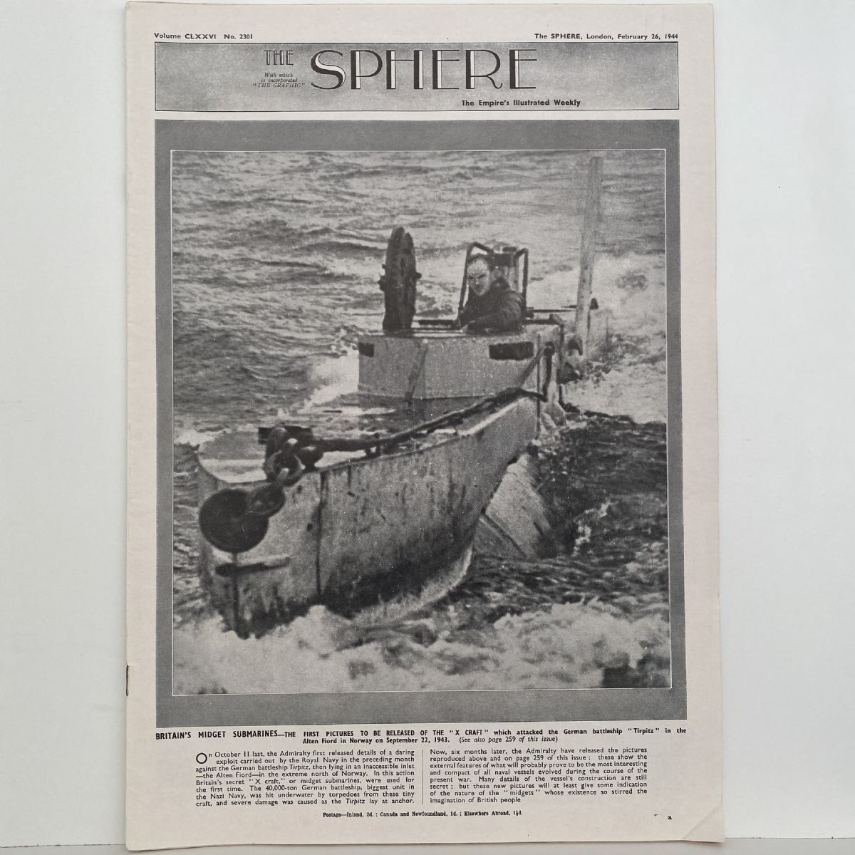 THE SPHERE The Empire's Illustrated Weekly. February 26, 1944. No.2301