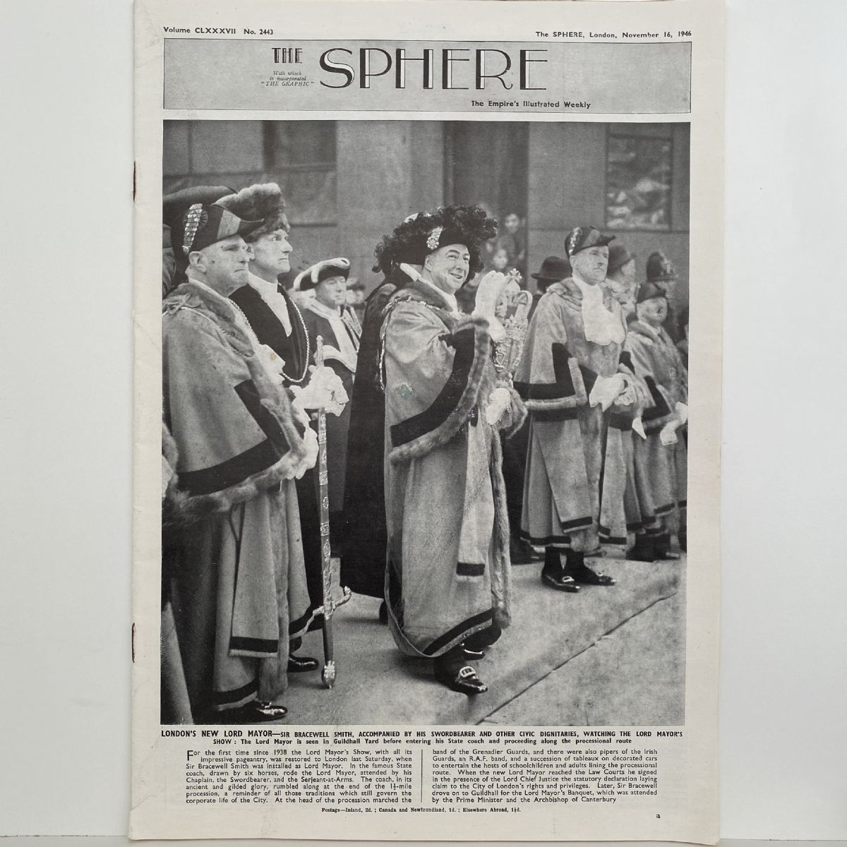 THE SPHERE The Empire's Illustrated Weekly. November 16, 1946. No.2443