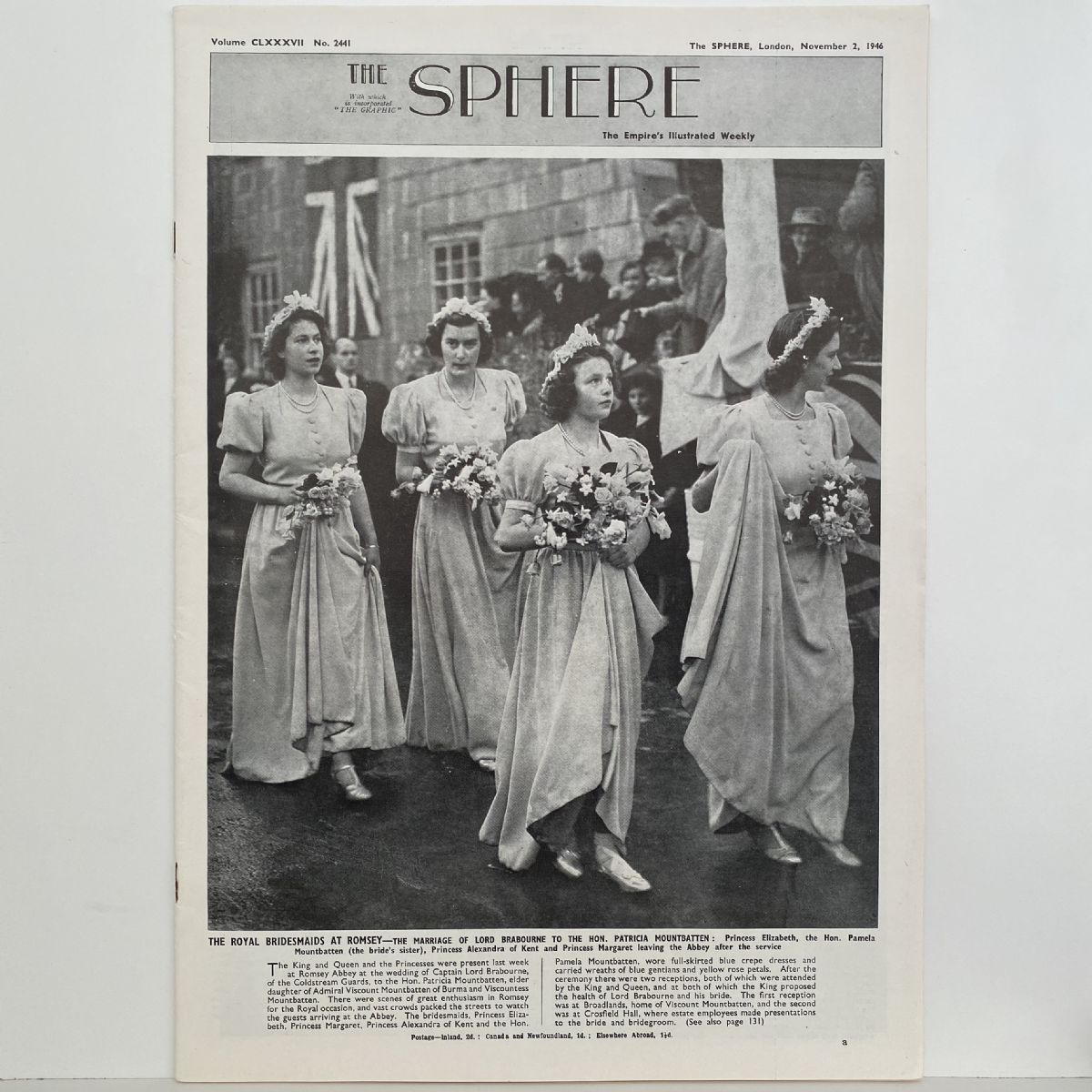 THE SPHERE The Empire's Illustrated Weekly. November 2, 1946. No. 2441