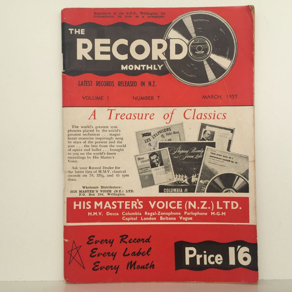 THE RECORD MONTHLY: His Masters Voice Vol 1 #7 March 1957