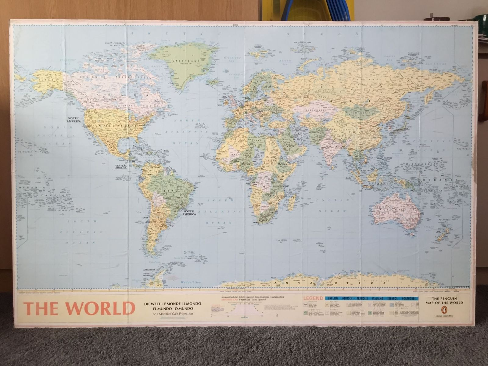 Large World Map, Wall Hanging and Mounted On MDF