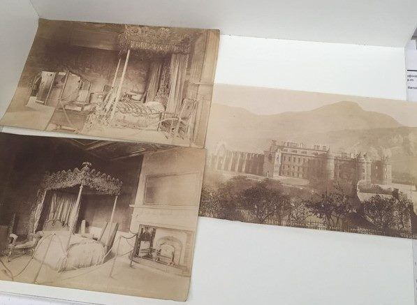 Holyrood Palace - 3x Old Monochrome Plates / Photos From 1800's
